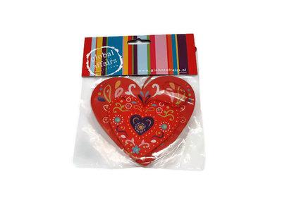 Global Affairs Fairtrade houten hartjes hangers rood
