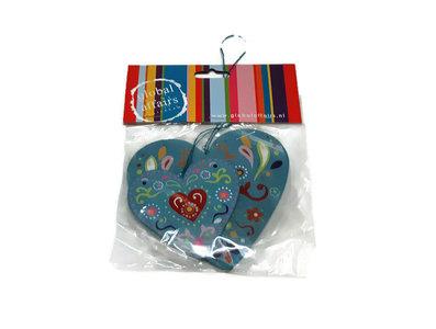 Global Affairs Fairtrade houten hartjes hangers blauw
