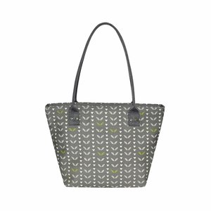 Grey Leaves Tote bag, canvas fairtrade shopper