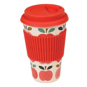 REX Coffee to go koffiebeker van bamboe met appel print