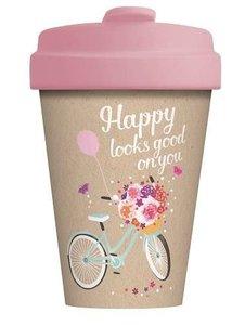 Bamboocup coffee to go beker met fiets print: Happy Looks Good