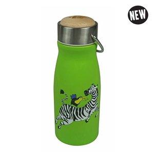 The Zoo flask Zebra, groene warmhoud fles met zebra
