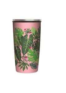Bamboe SlideCup RVS en bamboe coffee to go beker Pink jungle