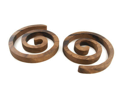 Fairtrade acacia houten onderzetters slang spiraal