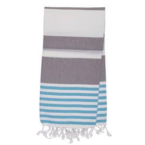 Mocco Marina7 hamamdoek blauw,wit grijs gestreept GreenPicnic