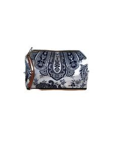 Sjaal met verhaal  toilettas blauw wit paisley