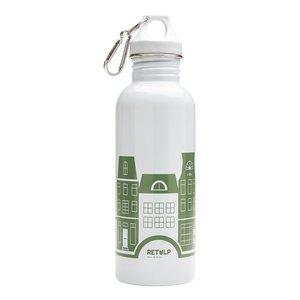 Retulp RVS drinkfles grijs met groene grachtenpand print