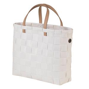 Handed By Petite White handtas van gevlochten gerecycled plastic wit