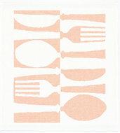 Tina Towel placemat van biologisch katoen met roze bestekprint