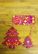 Global Affairs Fairtrade houten kerstboom hangers rood