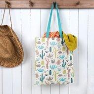 Boodschappentas van gerecycled plastic met cactus print