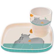 Bamboe kinderservies hippo bord en beker