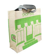 Fairtrade jute tas Shop Fair shopper groen