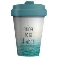 BambooCup koffiebeker van bamboe met afsluitbaar deksel Choose Happy
