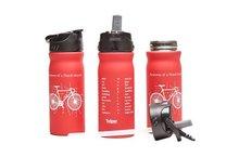 Rode Tulper drinkfles met fiets print. Rietje en drinktuit