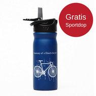 Blauwe RVS drinkfles van Tulper met gratis sportdop